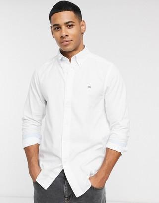 Calvin Klein logo oxford long sleeve shirt-White