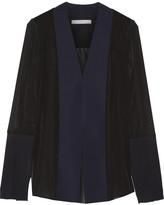 Dion Lee Tech Jersey-paneled Silk-chiffon Blouse - Midnight blue