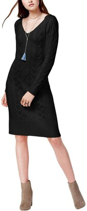 J.o.a. Women's Double V-Neck Cable Knit Sweater Dress