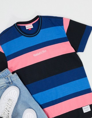 Mitchell & Ness Heavyweight Striped t-shirt in navy/pink