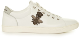 Dolce & Gabbana Crown and bee-embroidered low-top leather trainers