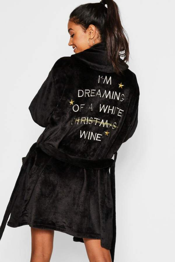boohoo White Wine Christmas Dressing Gown