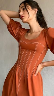 Jonathan Simkhai Lena Puff Sleeve Midi Dress