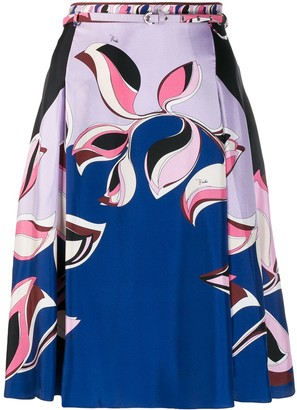 Emilio Pucci leaf print A-line skirt