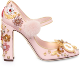 Dolce & Gabbana Clock and fur-embellished leather pumps
