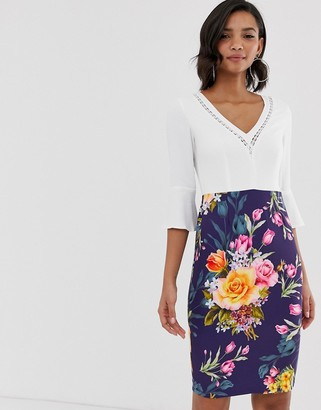 Paper Dolls long sleeve printed pencil skirt dress with colour block bodice