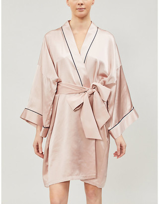 Olivia von Halle Contrast piping silk-satin robe