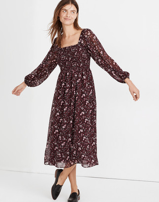 Madewell (Re)sourced Georgette Sheer-Sleeve Smocked Midi Dress in Rich Paisley