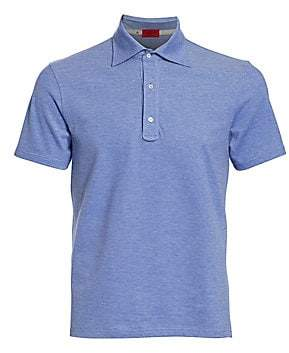 Isaia Men's Heathered Cotton Polo