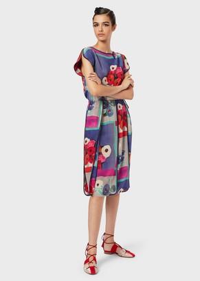 Giorgio Armani Pleated, Floral-Silk Dress