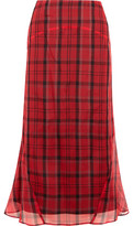 Joseph Ethan Plaid Silk-Organza Midi Skirt