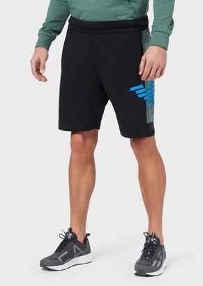 Ea7 Jersey Fleece Shorts With Eagle Print