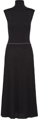 Prada metallic knitted midi dress