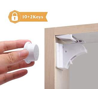 Cosy Angel Child & Baby Safety Magnetic Cupboard Locks, Set 10 Locks + 2 Keys, Magnetic Adhesive Lock for Drawers, Kitchen Cabinets, Protect Your Kids & Toddlers, No Screws or Drilling