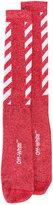 Off-White Red Diagonal stripe tube socks