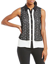KARL LAGERFELD PARIS Lace Overlay Blouse