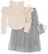 Arizona Cold Shoulder Top with Mesh Skirt with Phone Pouch and Fur Ball Key Chain - Girls' 7-16 & Plus