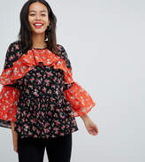 Asos Tall Mix & Match Floral Print Tiered Ruffle Blouse