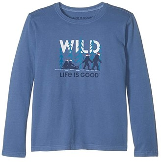 Life is Good Wild Family Long Sleeve Crusher Tee (Little Kids/Big Kids) (Vintage Blue) Boy's Clothing