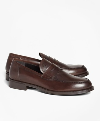 Brooks Brothers 1818 Footwear Rubber-Sole Leather Penny Loafers