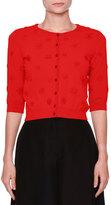 Valentino 3/4-Sleeve Daisy Knit Cardigan, Red
