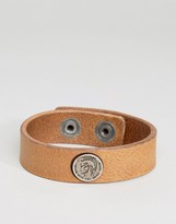 Diesel A-Shoot Logo Leather Bracelet In Brown