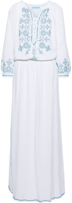 Melissa Odabash Sienna Lace-up Embroidered Voile Maxi Dress