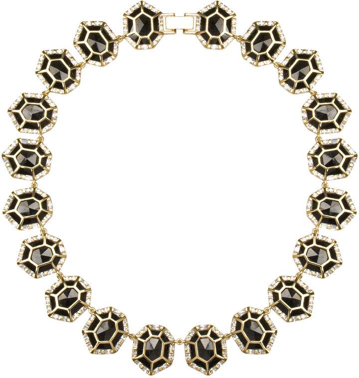 Kendra Scott Baguette-Trim Black Tourmaline Collar Necklace