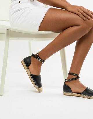 Truffle Collection Studded Ankle Strap Espadrille-Black