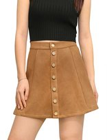 Allegra K Woman Button Closure Front Mid Rise Mini A-Line Skirt L