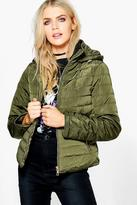 Boohoo Katie Crop Hooded Bubble Coat