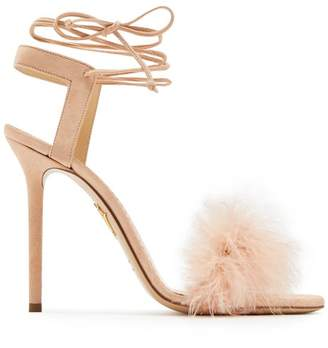 Charlotte Olympia Salsa Feather-embellished Suede Sandals - Womens - Nude