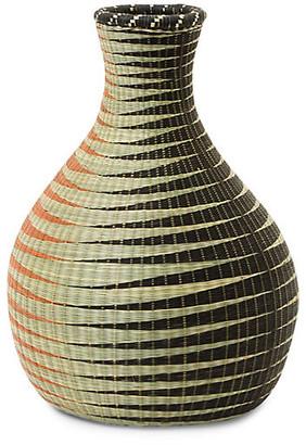 "All Across Africa 14"" Panthera Decorative Floor Vase - Black/Orange"