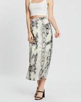 Missguided Snake Print Midi Slip Skirt