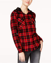 7 Sisters Juniors' Velvet-Hood Plaid Shirt