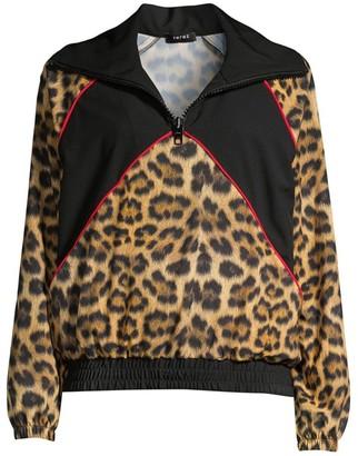 Terez Leopard Goals Half-Zip Windbreaker