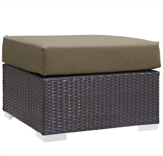 Modway Outdoor Modway Convene Outdoor Patio Wicker Rattan Square Ottoman