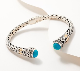 Artisan Crafted Turquoise Carved Cable Bracelet w/18K Gold Accents