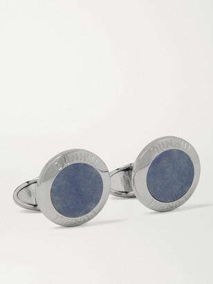 Dunhill Logo-Engraved Rhodium-Plated Agate Cufflinks