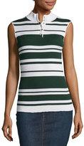 Frame Sleeveless Rib Striped Mock-Neck Sweater, Spruce/Blanc