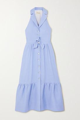 Temperley London Sophia Tie-detailed Cutout Tiered Linen-blend Dress - Lilac