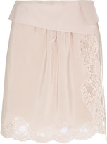 Chloé Lace-trimmed silk crepe de chine mini skirt
