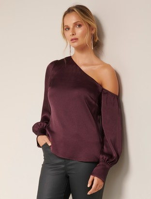 Forever New Lana satin tipped shoulder - Wine - 10