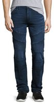True Religion Rocco Moto Straight-Leg Denim Jeans, Indigo