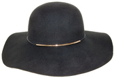Nine West Black Metallic Tube Accent Wool Felt Floppy Hat
