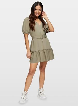 Miss Selfridge PETITE Khaki Belted Dress