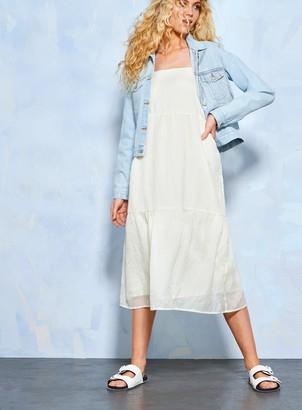 Miss Selfridge Pale Yellow Short Sleeve Tier Midi Dress