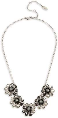 Miriam Haskell Silvertone, Faux Pearl Crystal Pendant Necklace