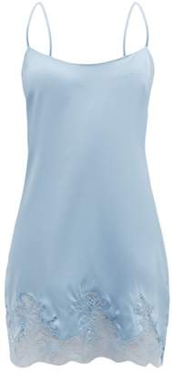 Fleur of England Iris Lace Trimmed Silk Blend Slip Dress - Womens - Light Blue