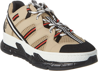 Burberry Union Low Mixed Leather & Mesh Platform Sneaker